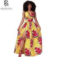 Wholesale Sexy Halter Neckline Short Top African Print Dresses Maxi Ankara Wax Batik Printing from china suppliers