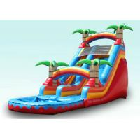 Red Tropical Kids Garden Water Slide With Pool , Blow Up Water Slide Backyard Inflatable Water Slide