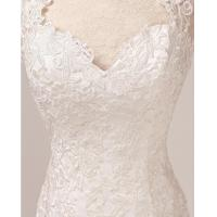 Quality Cross Back Strap Bra vintage Lace Wedding Dresses Beaded , drop waist Wedding for sale