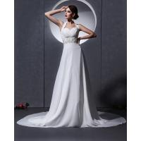 Wholesale Elegant around the neck Chiffon Wedding Dresses with open back / cathedral train from china suppliers