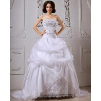 Wholesale Sequined Lace ruffled Strapless Wedding Gowns with long trains , white from china suppliers