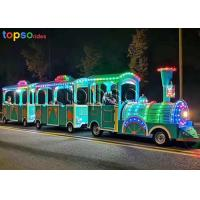 Outdoor Trackless Kiddie Train 2 Carriage Sightseeing Train Attraction 24 Person