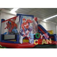 China Kids Spiderman 0.55mm PVC Tarpaulin Inflatable Bounce House Castles With Slide on sale