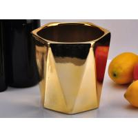 Wholesale Gold Color Hexagon ceramic candle containers , decorative candle holders For Candle Wax from china suppliers