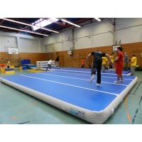 Blue Top Inflatable Air Track Mat For Fitness Center Training Customized Pressure