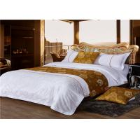 Wholesale King Size Hotel Bed Linen Satin White 400T And Gold Yellow Inlay With 100% Cotton from china suppliers