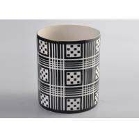 Wholesale Black Pattern Decal Cylinder Ceramic Porcelain Candle Holders Customized from china suppliers