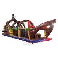 China Large Size Inflatable Sports Games Inflatable Pirate Ship Obstacle Course on sale