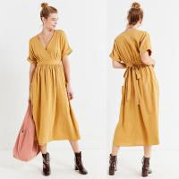 Wholesale Latest Gold Linen Maxi Long Wrap V-neck Woman Dress with Pockets from china suppliers