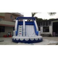 Wholesale Small Blue Commercial Inflatable Water Slide , PVC iInflatable Water Slide With Pool from china suppliers