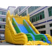 China EN14960 Big Wave Yellow And Green Durable Inflatable Slide For Adult Inflatable Games on sale