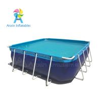 Wholesale outdoor durable blue Portable  Above ground rectangular steel metal frame swimming pool for water park from china suppliers