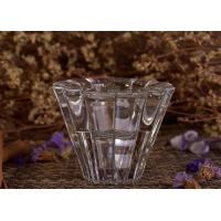 Wholesale V Shaped Mini High White Glass Tea Light Holders , Glass Candlestick Holders from china suppliers