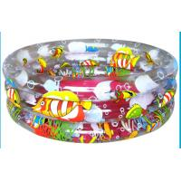 China 3-Ring Round Inflatable Swimming Pools for adults kids with one color pringting on sale