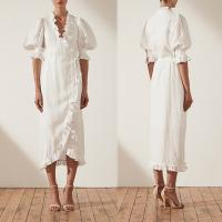 Wholesale Linen Puff Sleeve Wrap Midi Elegant Dress Cotton Ladies from china suppliers