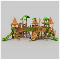 Buy cheap Nature style children outdoor wooden playground cottage playhouse for school from wholesalers