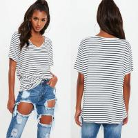 Wholesale White and Navy Striped V Neck Boyfriend Clothing T Shirt Women from china suppliers