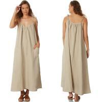 Wholesale Women 100% Linen Old Fashion Maxi Dress from china suppliers