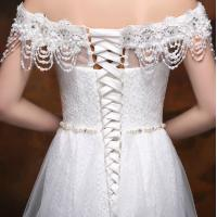 Wholesale Off Shoulder Beaded Appliques wedding dress with long trains for Girls / Womens from china suppliers