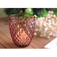 Wholesale Beautiful coloured glass candle holders / clear glass votive candle holders Diamond Embossed Pattern from china suppliers