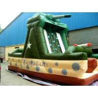 Wholesale Double Stitching Tank Bouncy Castle Plato 0.55mm PVC Tarpaulin WIth Climbing Wall from china suppliers