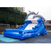 Buy cheap 5m high cute dolphin kids inflatable water slide with pool from China inflatable from wholesalers