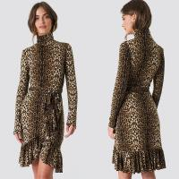 Wholesale Autumn Fashion Women Long Sleeve And High Neck Leo Polo Dress Brown from china suppliers