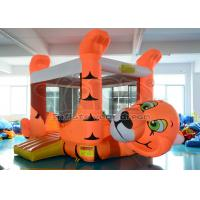 Quality Outdoor Orange Tiger Inflatable Bounce House PVC For Kids Birthday Party for sale
