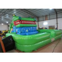 China Crocodile cartoon themed inflatable water slide with big water pool big inflatable crocodile water pool slide on sale