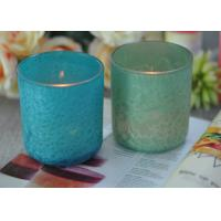 Quality Beautiful Wedding Gift Feather Painted Glass Candle Holders Decorative Candle for sale