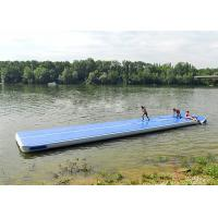 Long Blue Smooth Rubber Air Tight Yoga Mat , Floating Inflatable Air Track For Water