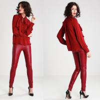 Wholesale New Arrival Elegant Red Woman Autumn Long Sleeve Low V-neck Blouse and Ladies Shirt from china suppliers