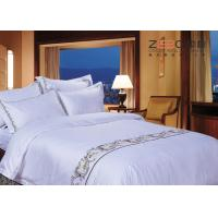 Wholesale Logo Embroidery Satin White Hotel Bed Linen Soft Top Grade 400TC from china suppliers