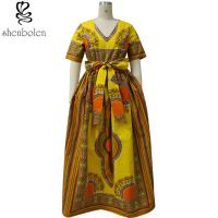 Wholesale Modern African Print Dresses Dashiki For Elegant V - Neck Classical Print Sleeveless from china suppliers