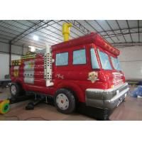 China Funny Firetruck Inside Bounce House , Kindergarten Baby Indoor Inflatable Bouncer for sale