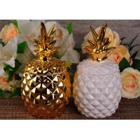 Golden Glazing Pineapple Ceramic Candle Holder With Lid For Home Decor