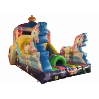 Inflatable pink The carriage princess standard slide disney pink inflatable princess castle carriage slide