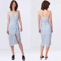 Wholesale 2018 Summer Linen Fabric Slip Wrap Dress Ladies from china suppliers
