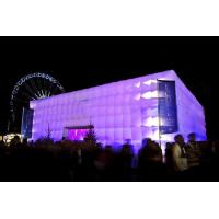 Giant Purple Lighting Inflatable Cube Tent Printed For Exhibition