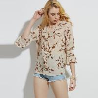Wholesale Women Korean Chiffon Floral Print Blouse from china suppliers