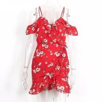 Quality China Clothing Manufacturers Service Womens Slip Custom Red Short Chiffon Flower for sale