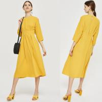 Wholesale New Arrival Fall Yellow Midi Dress With Sleeves Ladies Autumn from china suppliers