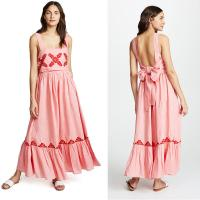 Wholesale 2018 Pink Linen Embroidery Women Maxi Dress Summer from china suppliers