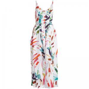 Quality 2018 New Style Women White-Print Button-Down Simple Cheap Linen Midi Dress for sale