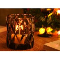Wholesale Handmade Candle Holders Glass , Dimond Glass Candle Jar Customed Color from china suppliers