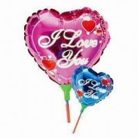 Wholesale 9-inch Heart-shaped Balloon Toy, Two Colors Available, with Cup Stick, Made of Nylon Aluminum and PE from china suppliers