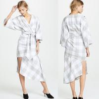 Wholesale Fall Clothing Plus Size Gingham Kimono Style Wrap Dress For Women from china suppliers