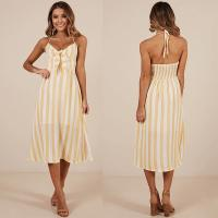 Wholesale New arrival High Quality Mustard Stripe Beach Dress Summer Women Maxi Dress Ladies Sleeveless from china suppliers