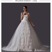 Wholesale Strap lace cathedral train V Neck Wedding Dresses Beaded for Birdal / Girls / Women from china suppliers