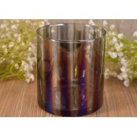 Wholesale Decorative Straight Walled Glass Candle Holder with Electroplating Color Effect from china suppliers